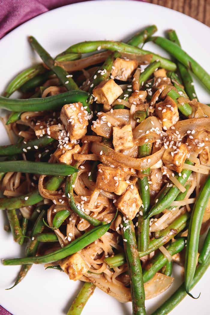 Oil Free Almond Butter Green Bean Pad Thai Gluten Free Vegan Recipe Plants Rule